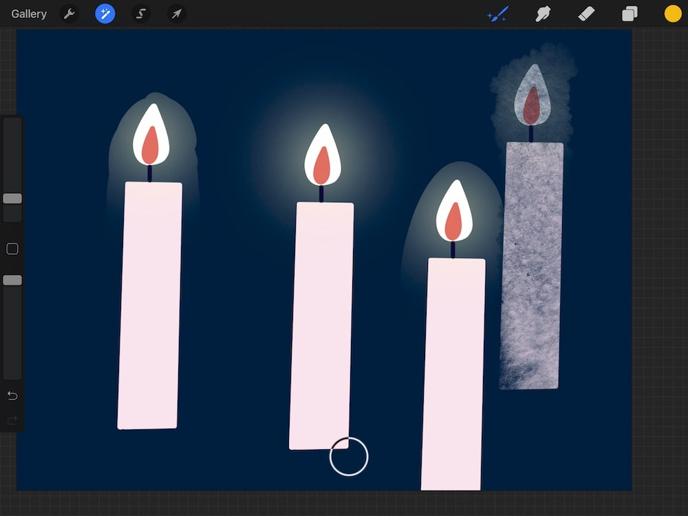 clone effect using textured brush on candle illustration