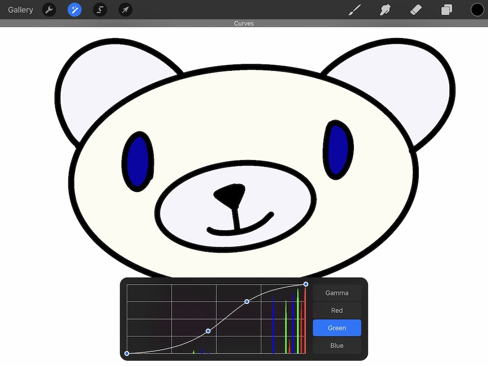 changing color of bear illustration with curves adjustment