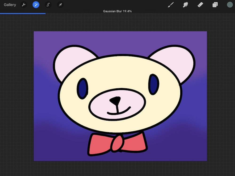 bear with gradient background with gaussian blur