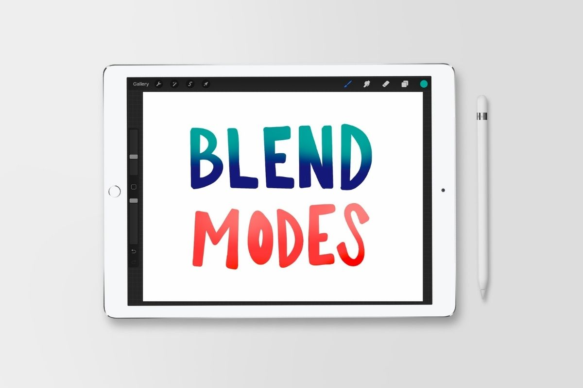 "ipad with ""Blend Modes"" drawn on the screen"