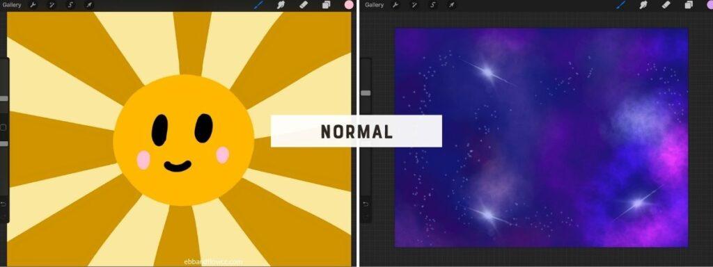 illustration screenshots in normal blend mode