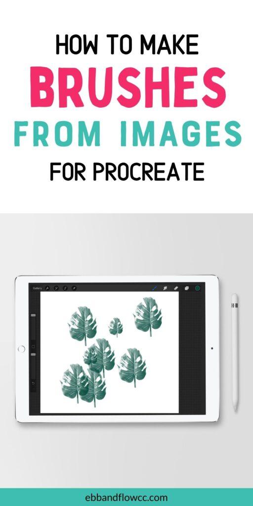 pin image- ipad with monstera leaf brush