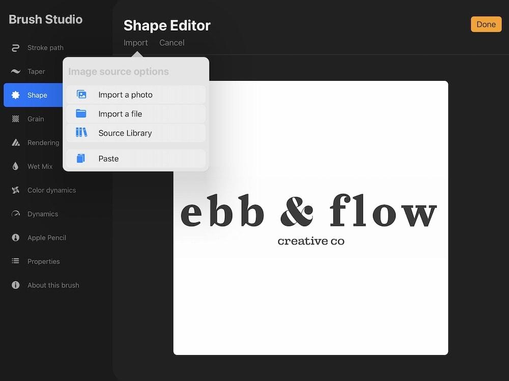 adding logo to procreate brush menu