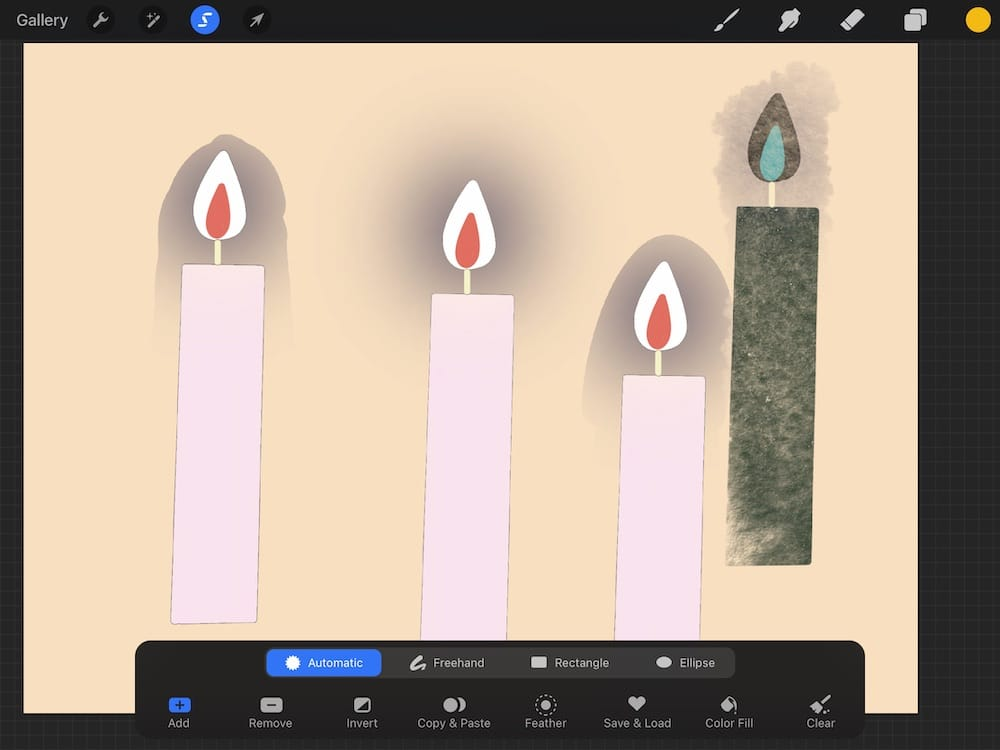 selecting candle images on Procreate