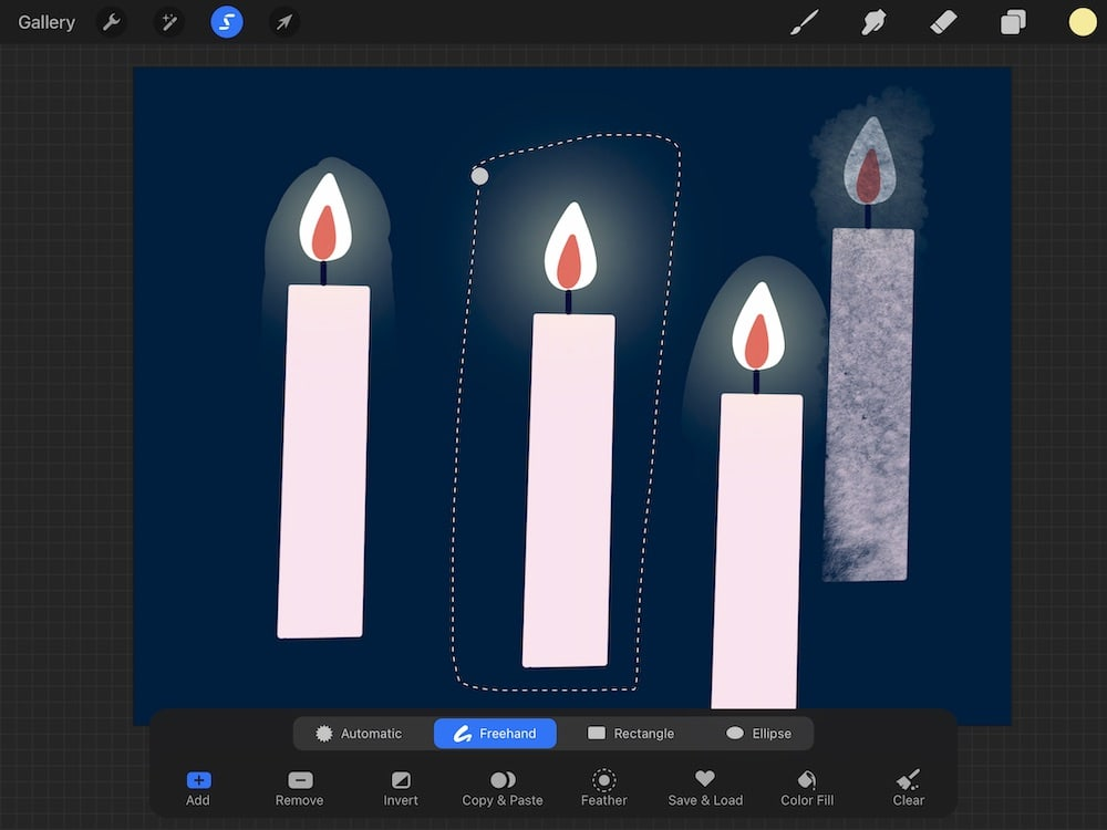 freehand selection of candle illustration