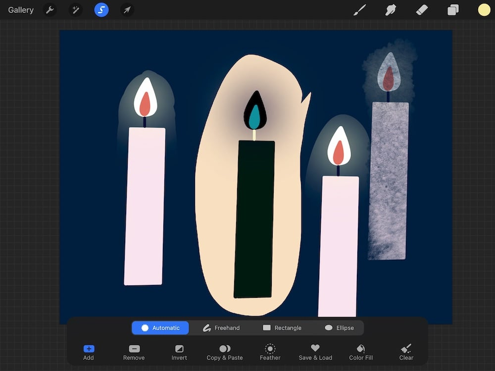 inverted selection of candle drawing