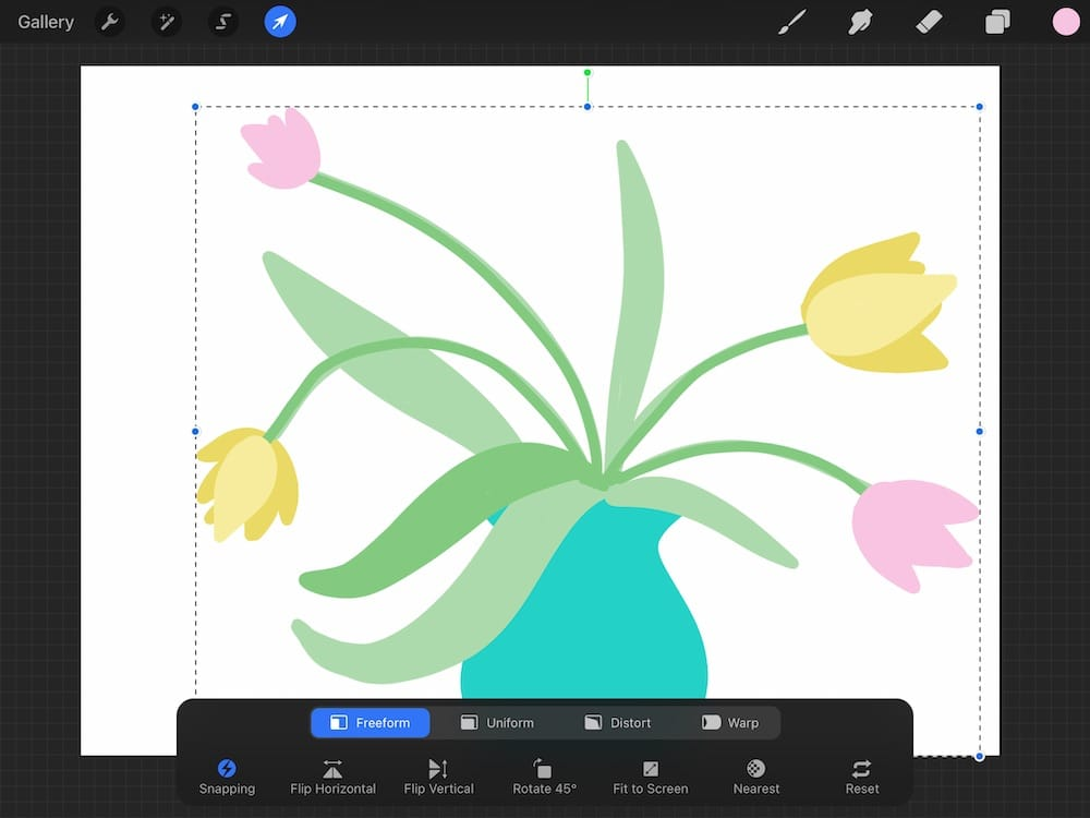 horizontally flipped version of flowers in vase drawing