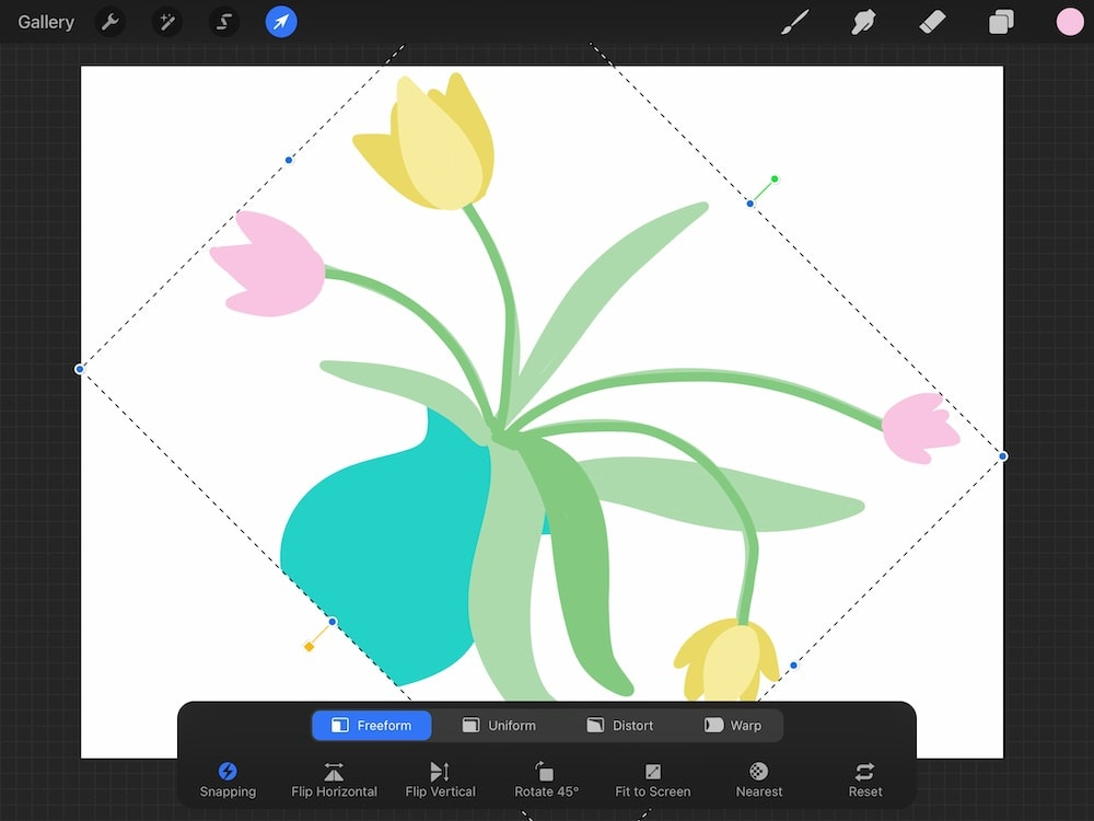 using fit to screen on drawing of flowers in vase