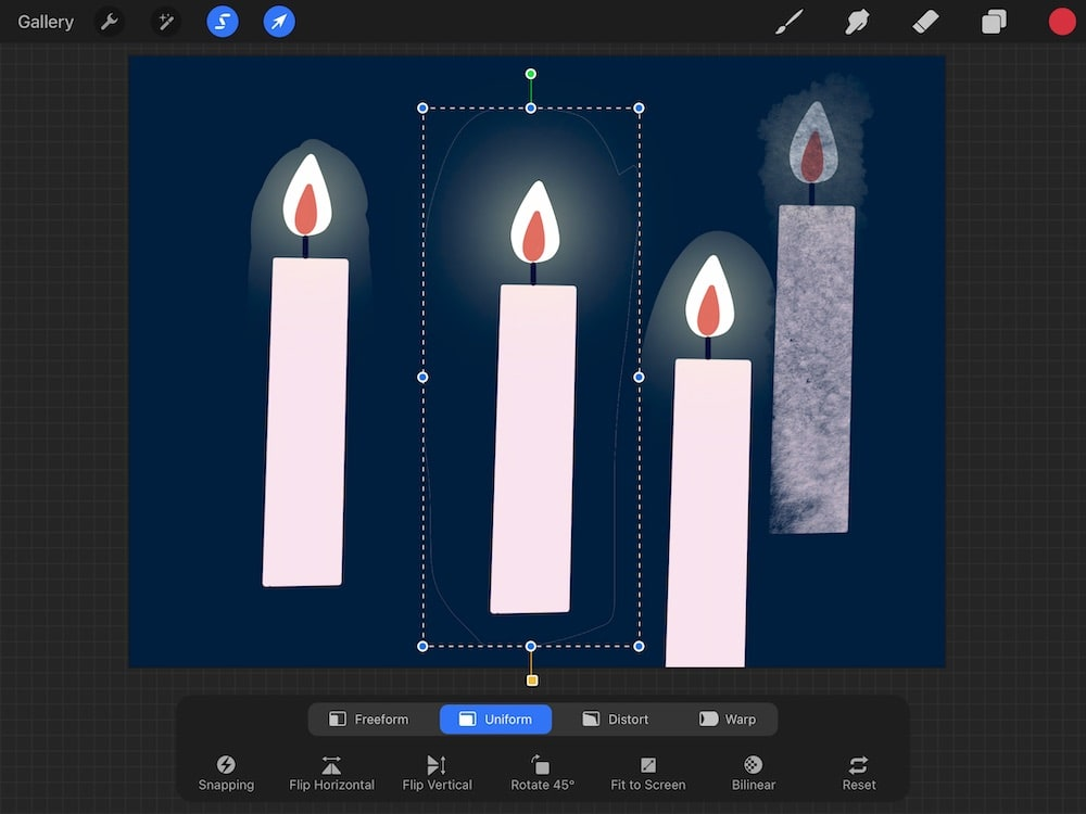 freehand selection in procreate of candle