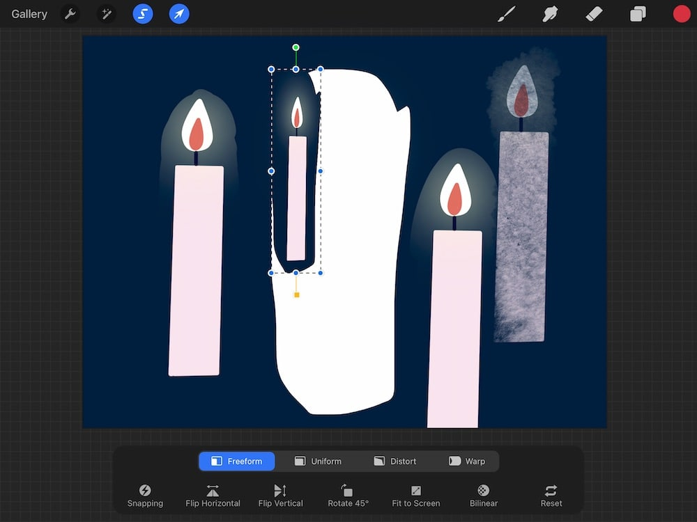 freeform transform option of candle drawing