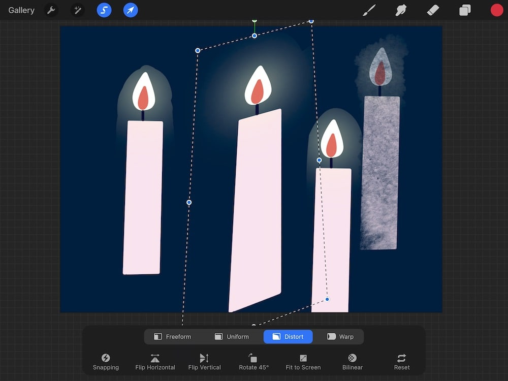 distort transform option of candle drawing in procreate
