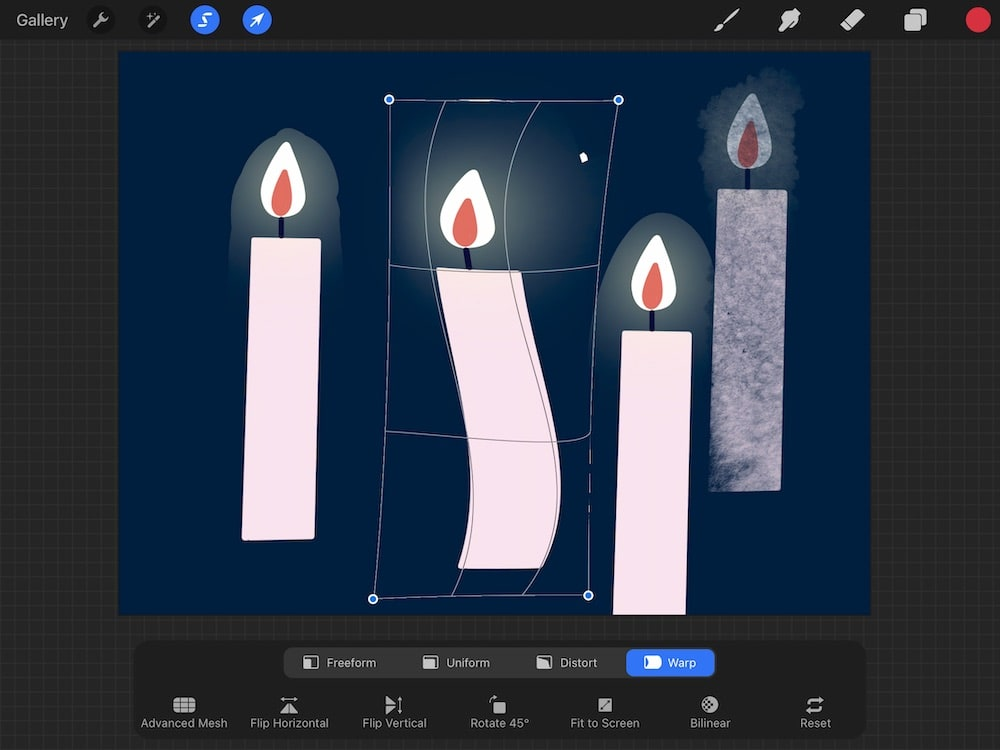 warp transform effect on candle drawing in procreate