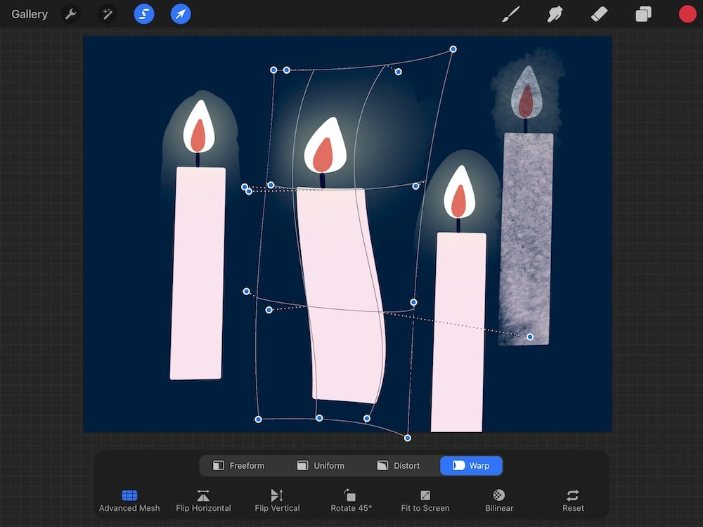 advanced warp mesh on drawing of candle