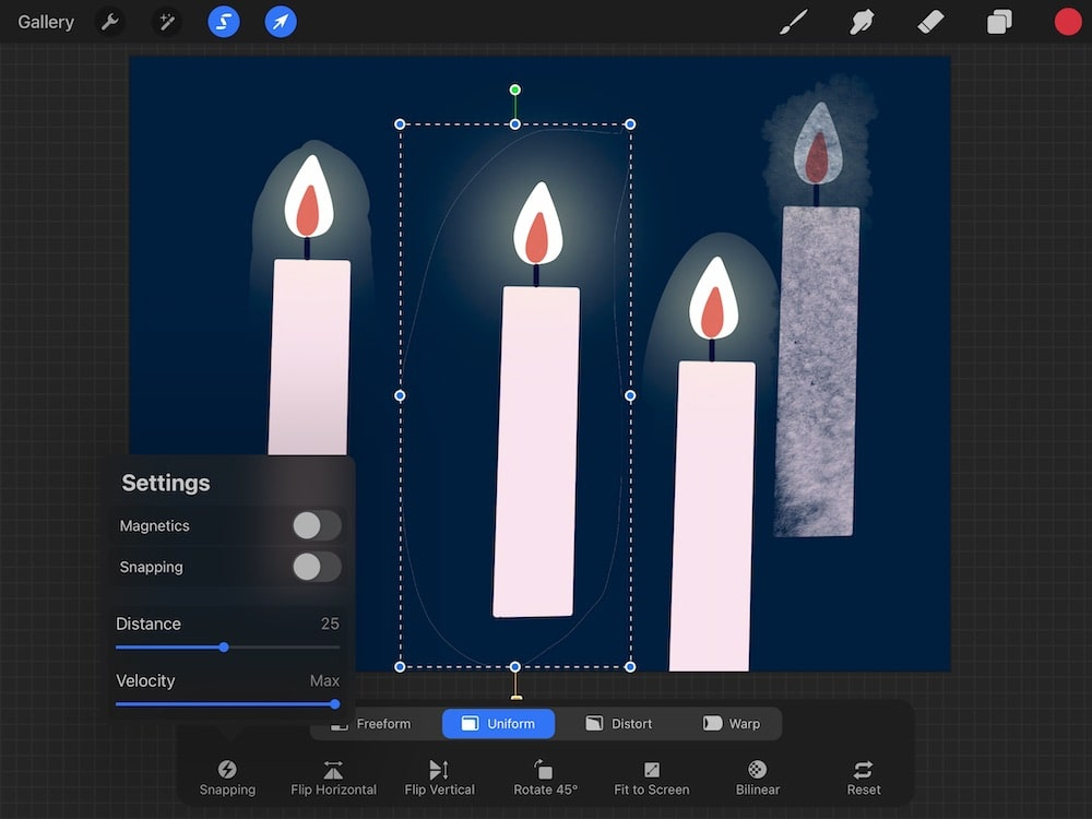 snapping in procreate on drawing of candle