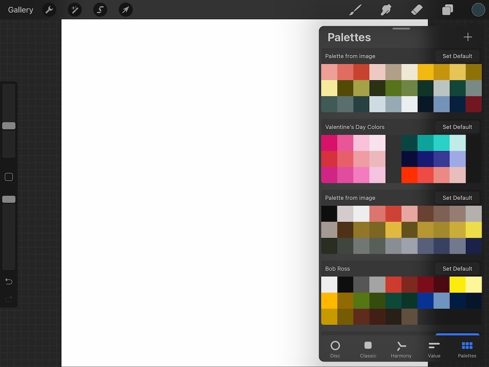 color palettes in Procreate