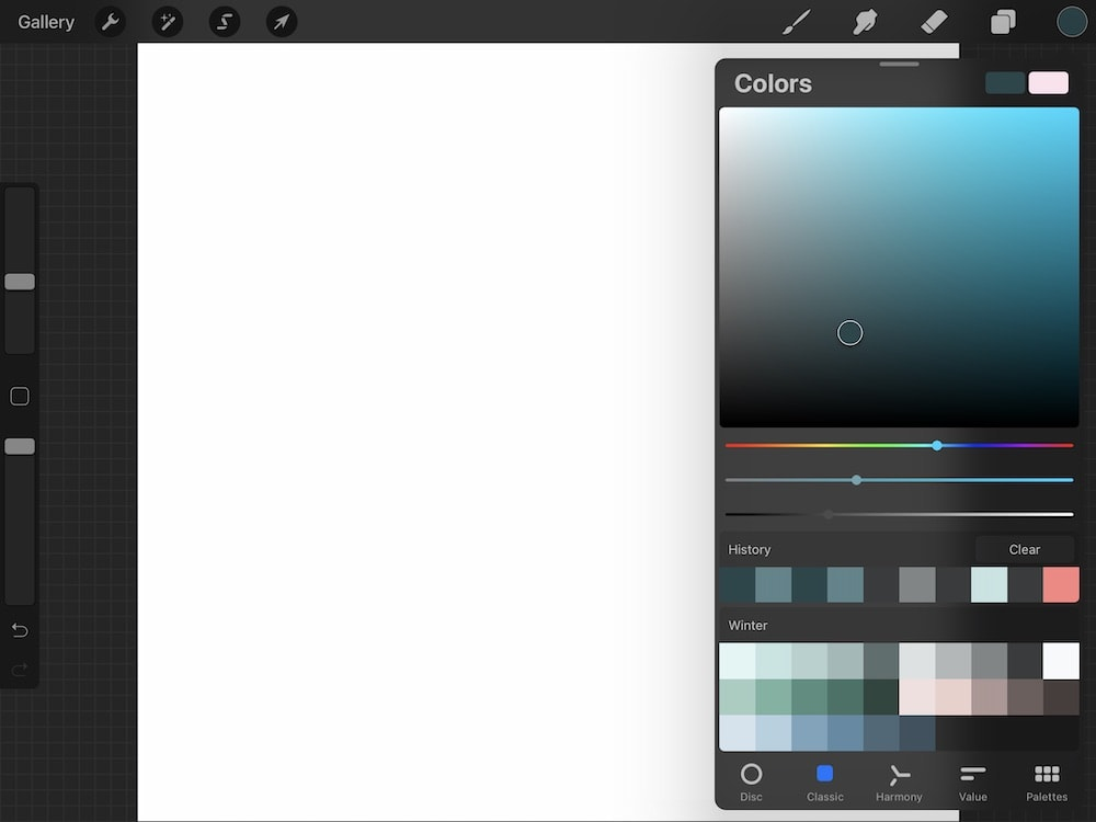 changing colors in procreate app