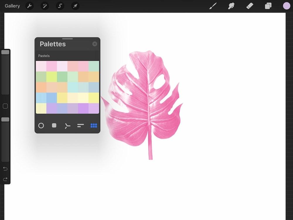 dragging color palette onto canvas