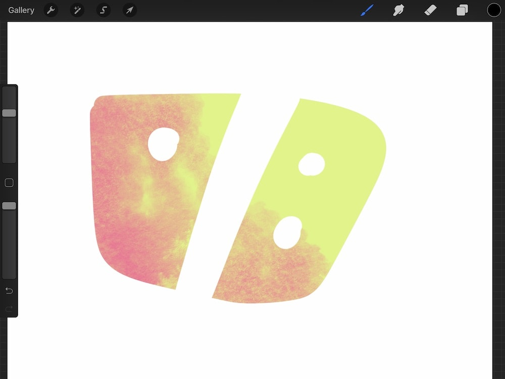 layer mask in procreate on yellow shape