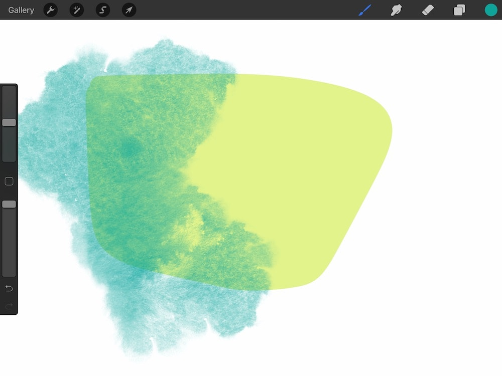 turquoise layer over yellow shape
