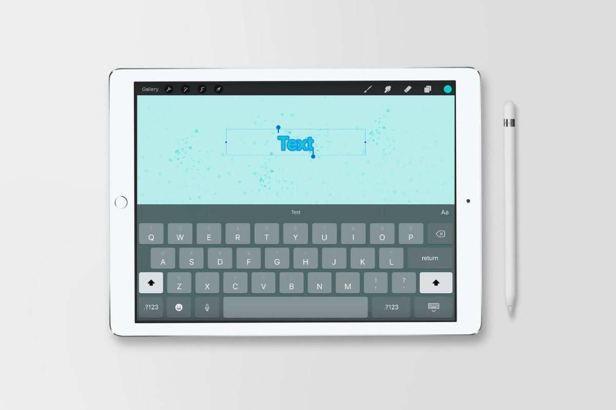 ipad with screenshot of adding text