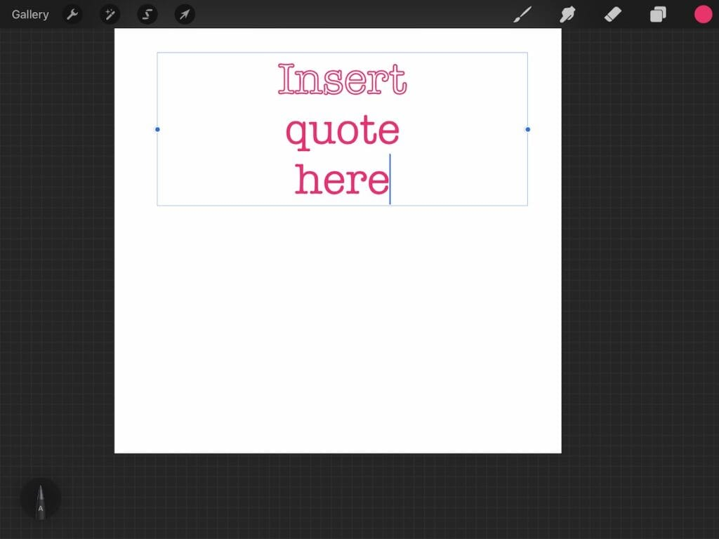outline text in procreate