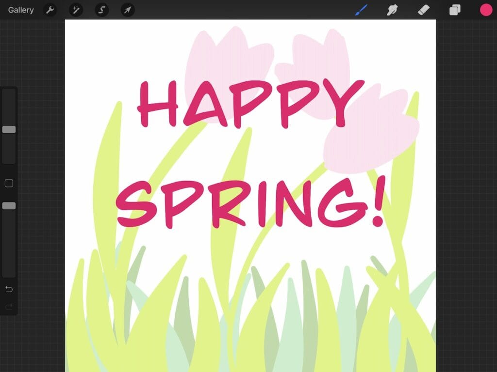 """simple flower design with """"happy spring"""""""