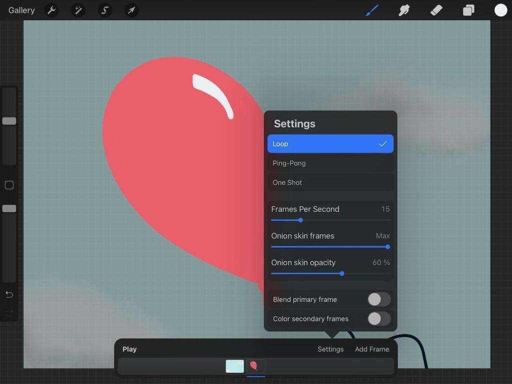 animation settings screenshot