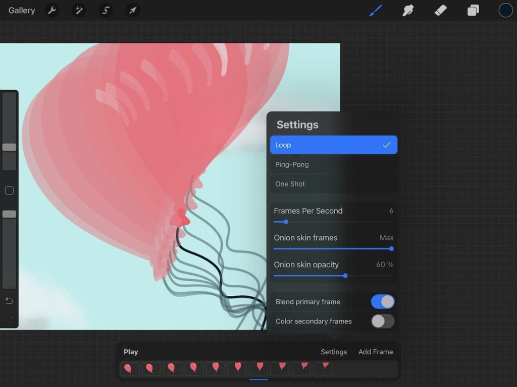 onion skins blend turned on in procreate on balloon animation