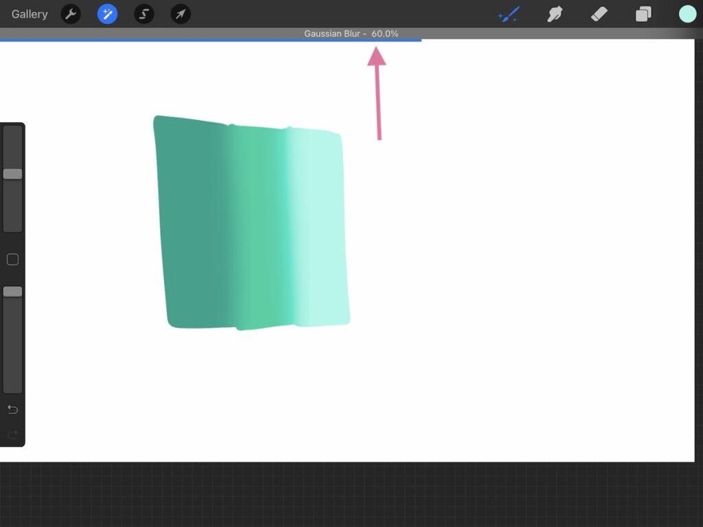using gaussian blur on teal gradient shape