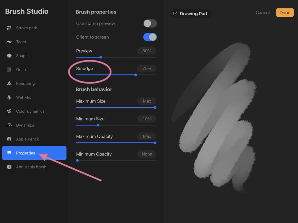 brush smudge options in procreate