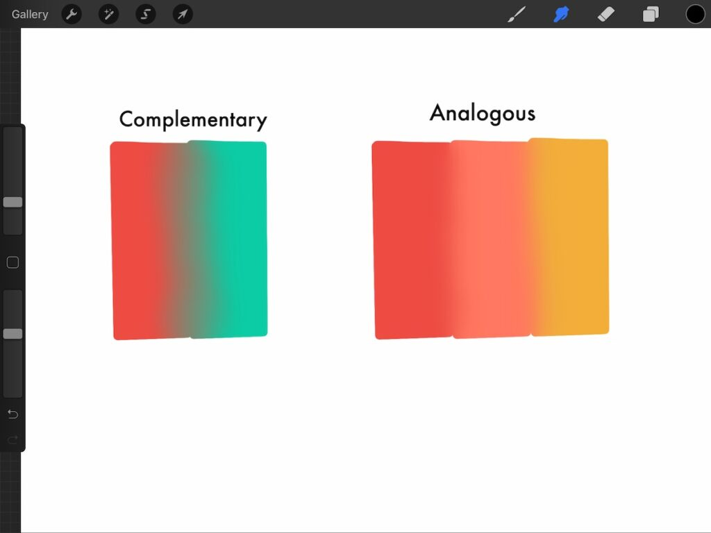 blended complementary colors vs blended analogous colors