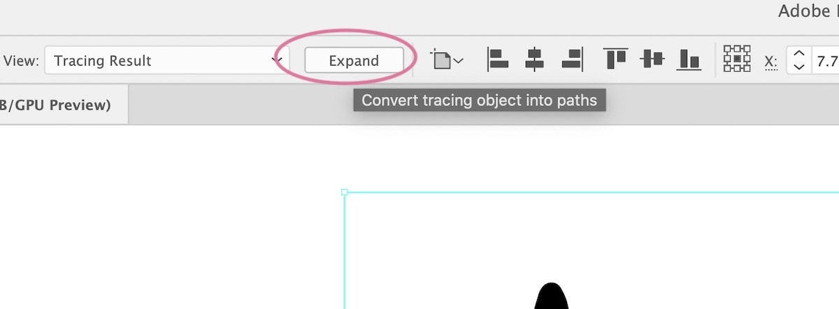 expand button in illustrator