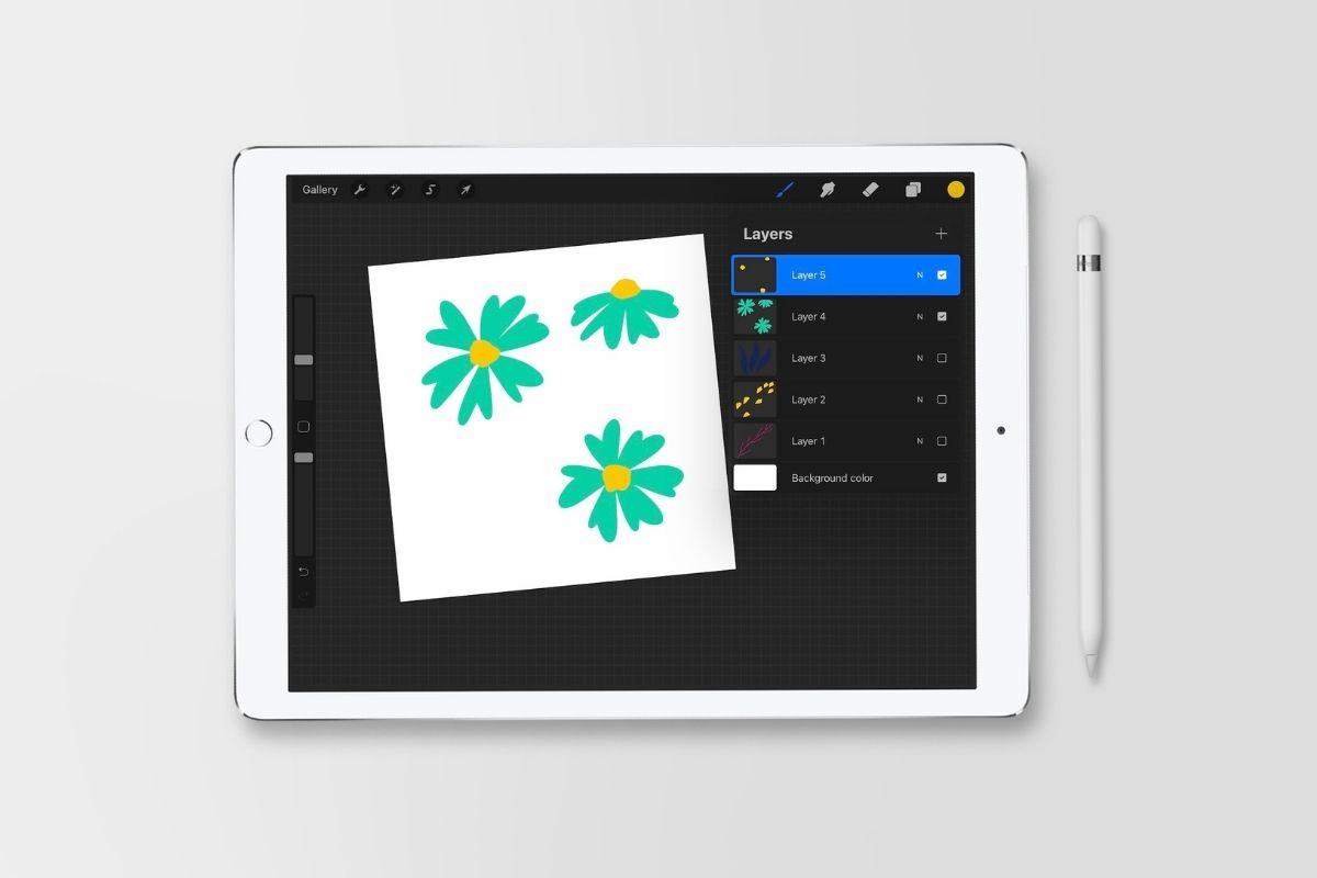 ipad with floral drawing