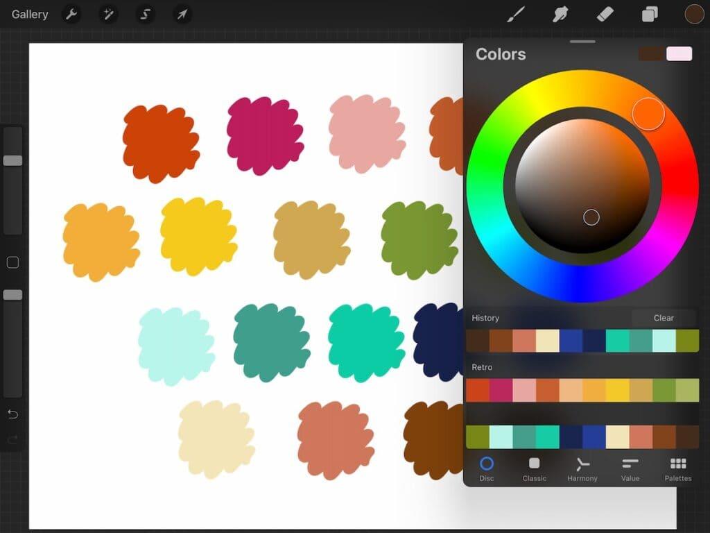 screenshot of color palette on procreate