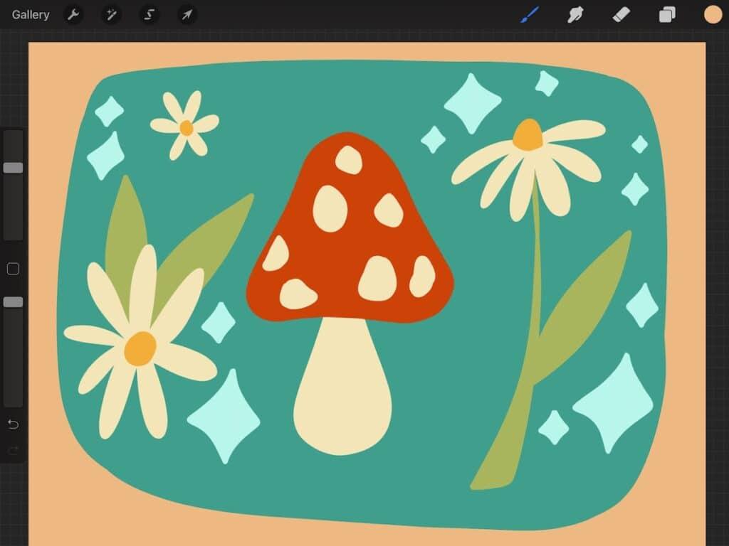 retro mushroom and daisy art