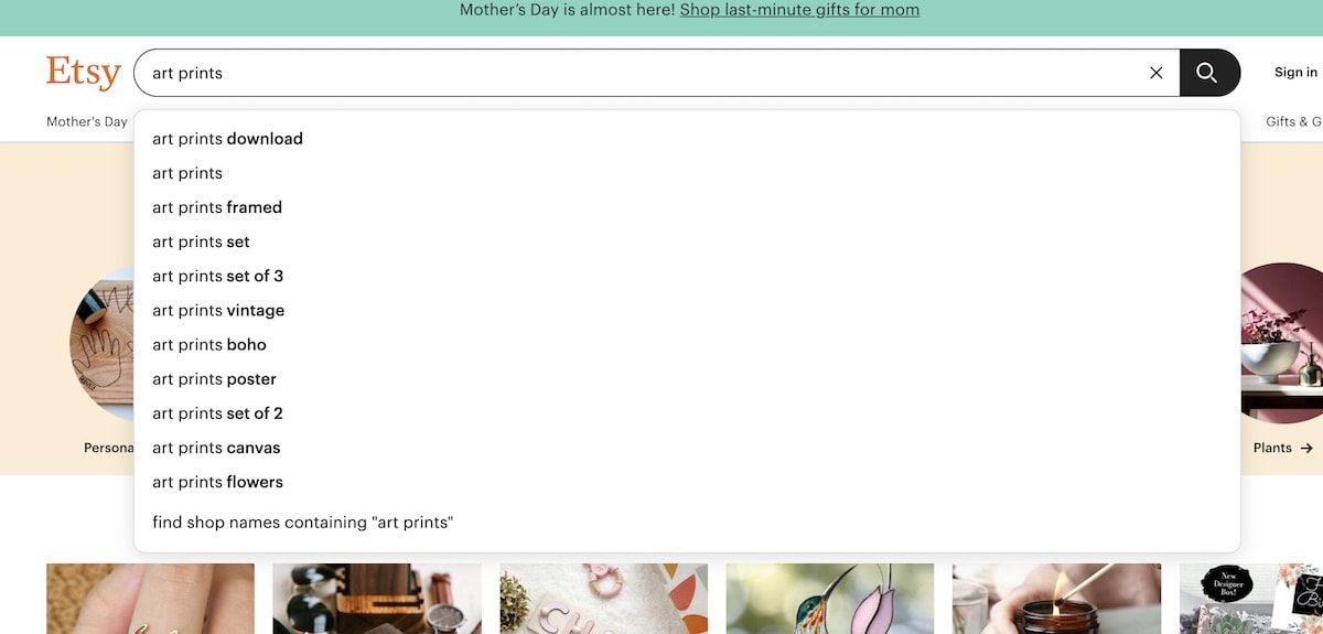 screenshot of etsy search