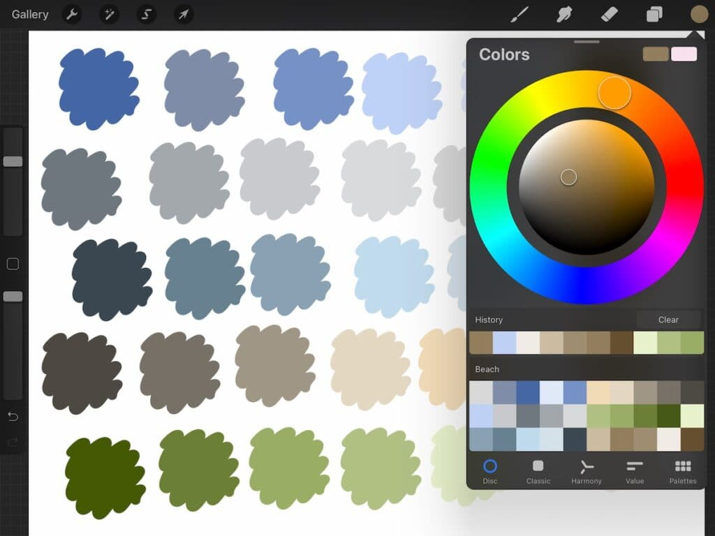 screenshot of procreate app