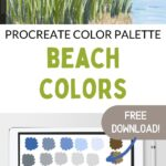 collage of beach art and color palette