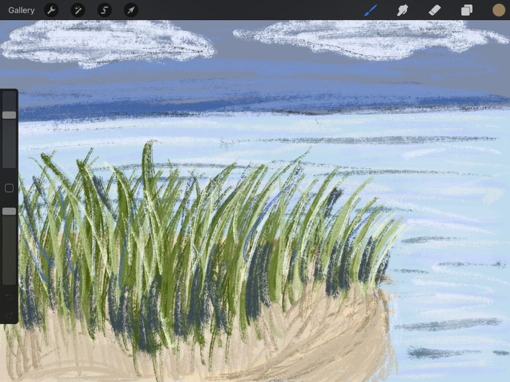 beach scene created on Procreate