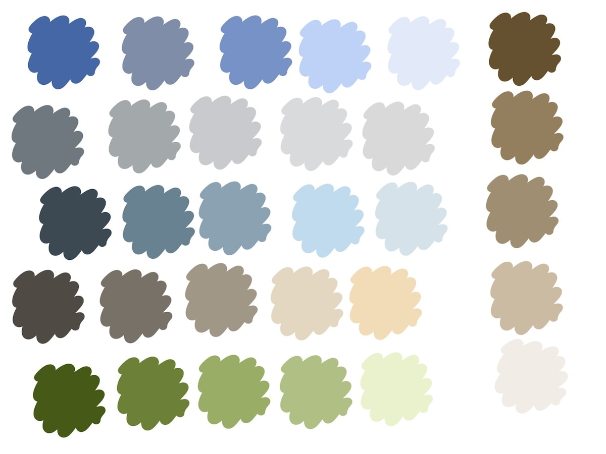 color palette with greens, blues and browns