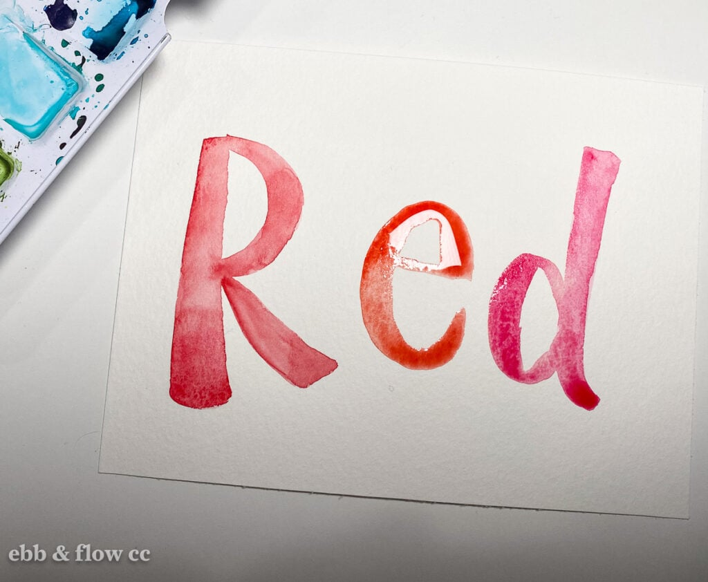 """hand-lettered watercolor """"red"""""""