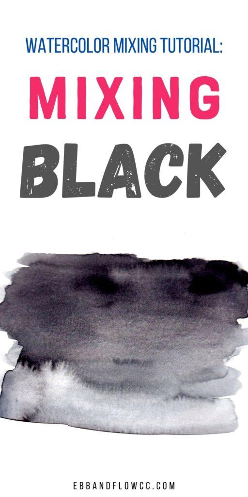 black watercolor paint swatch