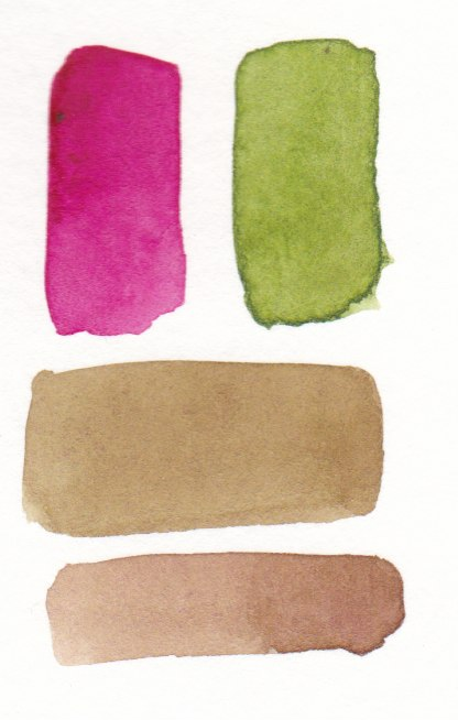 pink and green watercolors mixing to make brown
