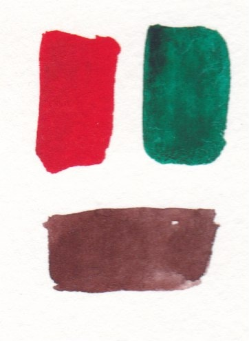 watercolor swatches or red and green making brown