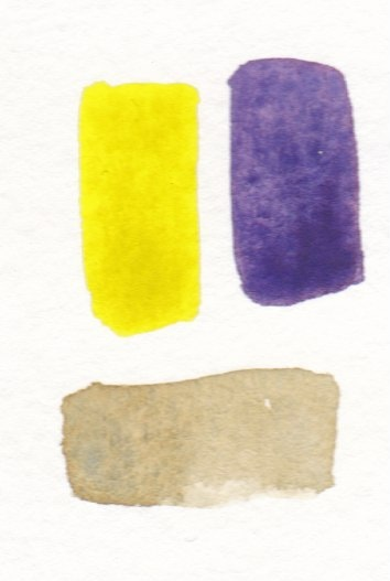 yellow and violet mixing to make beige color