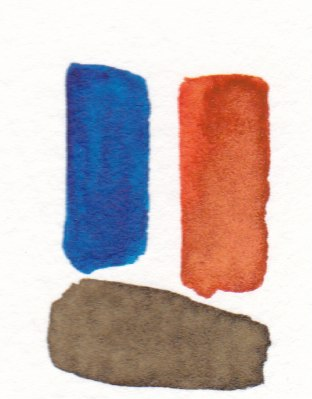 blue and orange mixing to make brown
