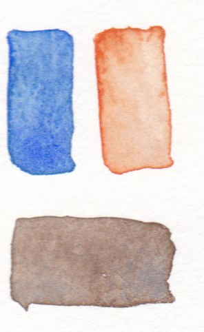blue and orange mix to make brown