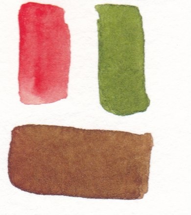 red and green watercolor mixed to make brown