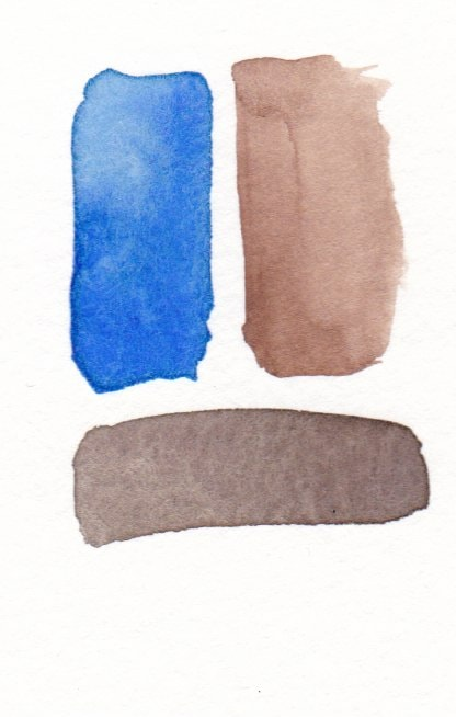 blue and burnt umber mixing to make dark brown
