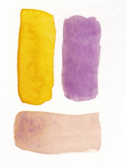warm yellow and warm violet mix to make reddish brown color